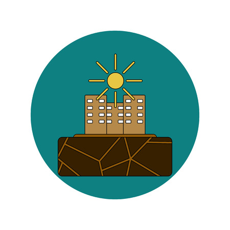 parched: Vector illustration in flat design of cracked earth and buildings
