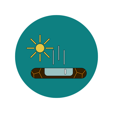 Vector illustration in flat design of cracked earth and evaporation of water