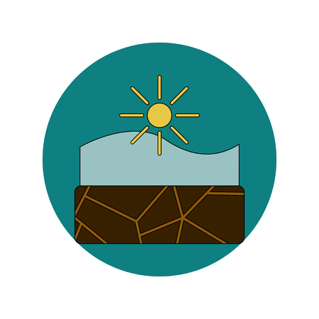 Vector illustration in flat design of cracked earth underwater