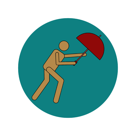 Vector illustration in flat design of man with umbrella in storm