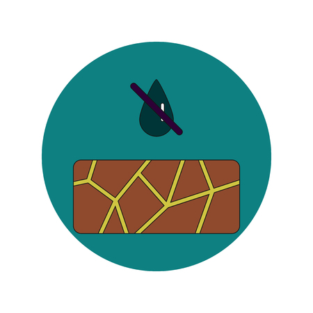 Vector illustration in flat design of cracked earth and drought