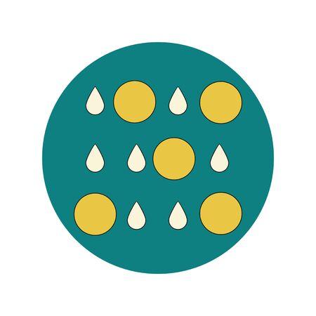 Vector illustration in flat design of rain with volcanic elements Illustration