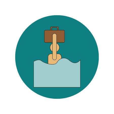 Vector illustration in flat design of refugee in water Ilustrace