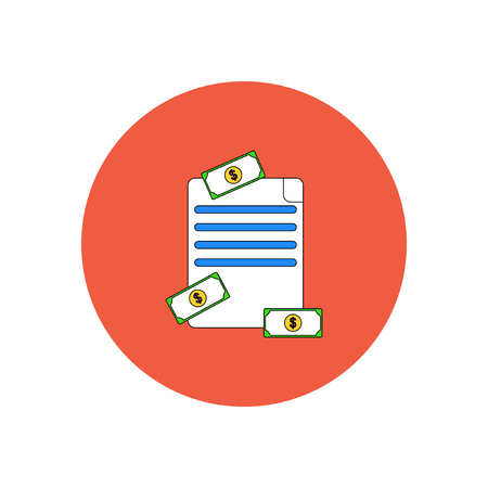 Vector illustration in flat design of get money for paper contract