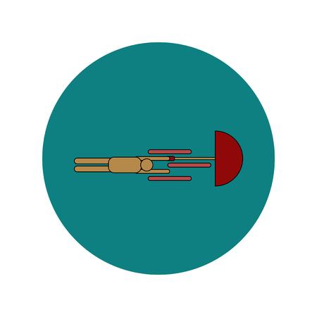 dangerous: Vector illustration in flat design of man with umbrella in storm