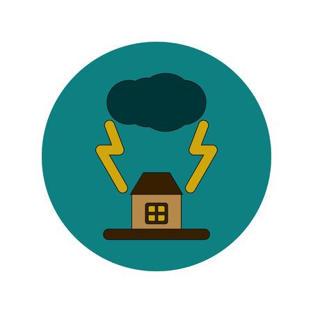Vector illustration in flat design of lightning house Illustration