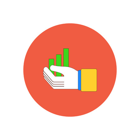 Vector illustration in flat design of column chart in hand
