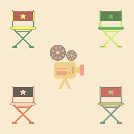 cinema producent zetel Vector illustratie Collection in vlakke stijl Movie director chair