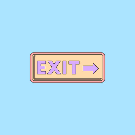 evacuate: exit way sign Vector illustration in flat style exit lamp in cinema Illustration