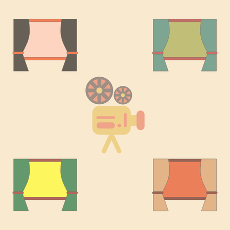 spectacle frame: cinema screen with open curtain Vector illustration Collection in flat style movie screen with blinds Illustration