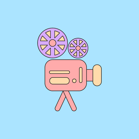 old movie video camera Vector illustration in flat style Retro cinema