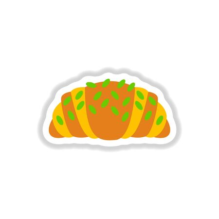 Vector illustration in paper sticker style Croissant