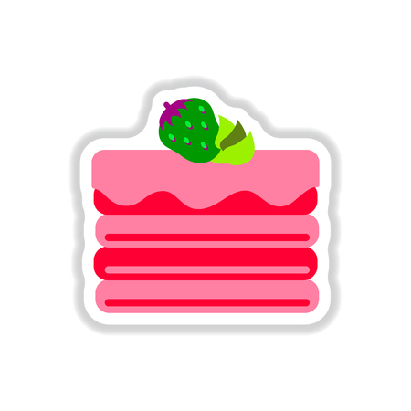 Vector illustration in paper sticker style delicious chocolate strawberry cake