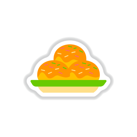 savoury: Vector illustration in paper sticker style delicious cake on plate
