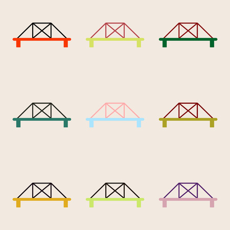 balustrade: collection of metal cable suspension bridges, modern bridges set