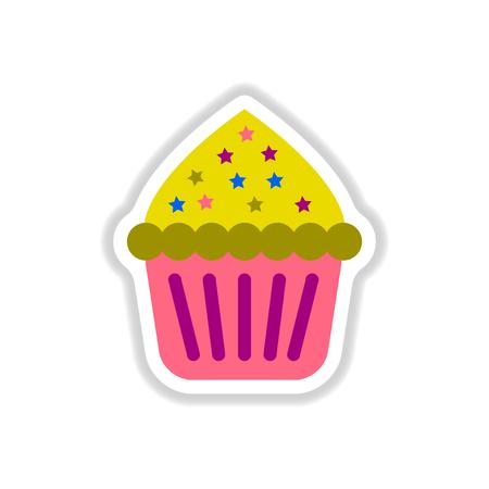 Vector illustration in paper sticker style Cupcake Illustration