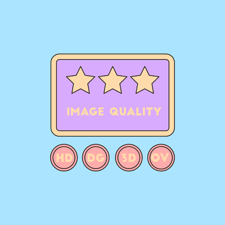full screen: image quality with stars Vector illustration in flat style High quality picture movie Illustration