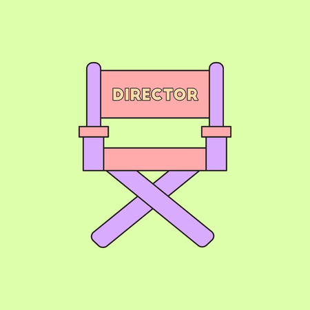 cinema producer seat Vector illustration in flat style Movie director chair Stock Illustratie