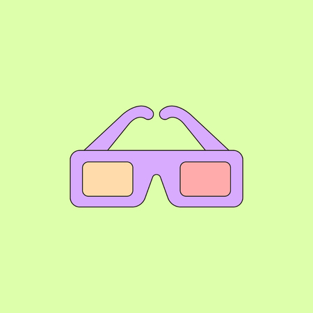 eyewear: cinema spectacles Vector illustration in flat style 3d movie glasses Illustration