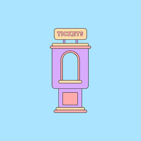 newsstand: Vector illustration in flat style cinema ticket booth Illustration