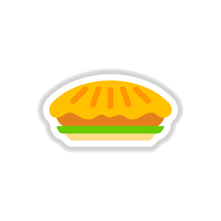 Vector illustration in paper sticker style delicious pie on plate