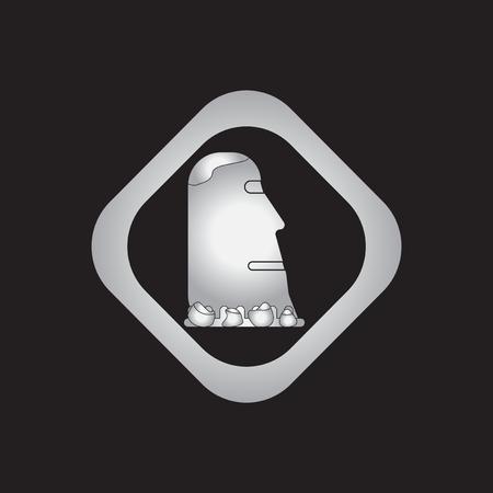easter island: Island stone head moai