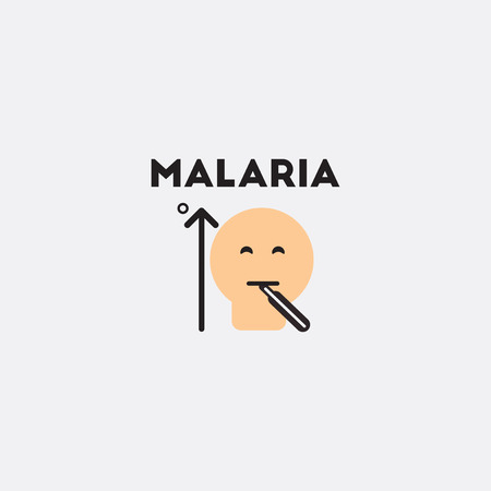 Vector paper sticker various symptoms of Malaria on the human man with high temperature and thermometer in mouth Illustration