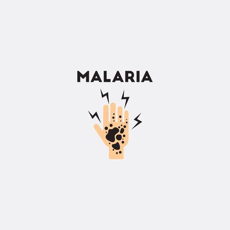 malaria: Dermatological effects on hand Vector paper sticker various symptoms of Malaria on the human