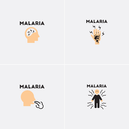 Vector icons collection various symptoms of Malaria on the human