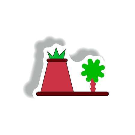 volcano eruption sticker. volcano and tree