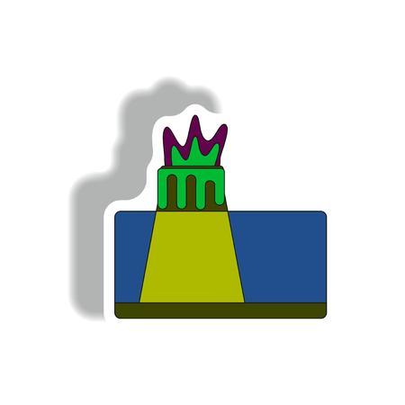 volcano explosion structure sticker Illustration