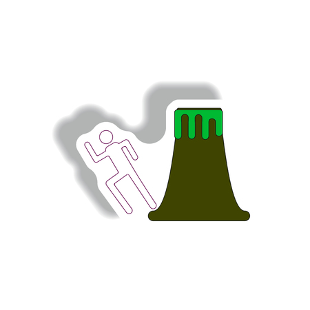 disaster: volcano and man silhouette running in sticker style