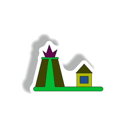 Vector illustration in paper sticker style volcano explosion and house Illustration