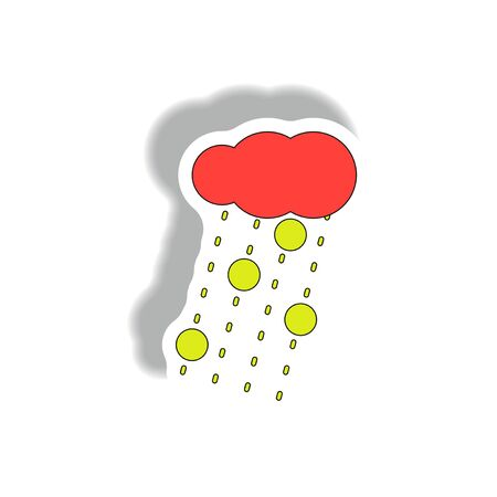 Cloud and rain with volcanic elements, weather sticker
