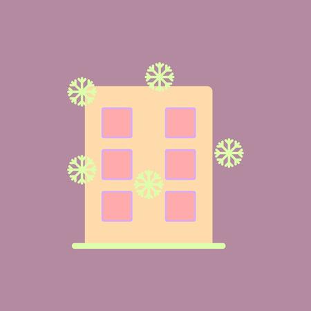 都市の建物の雪ベクトル図建物と雪