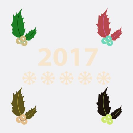 collection of new year rowanberry Vector illustration christmas rowanberry Illustration