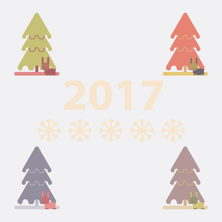 feliz: collection of new year tree Vector illustration christmas tree and rabbit