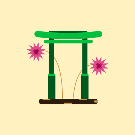 Vector illustration of Chinese new year celebration in flat style Chinese historic traditional gate and fireworks