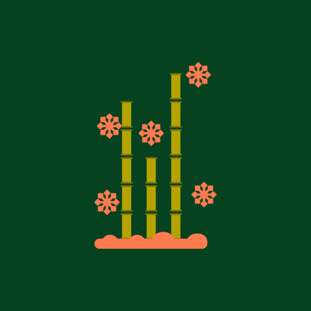 winter garden: Chinese bamboo Vector illustration of bamboo and snow in flat style