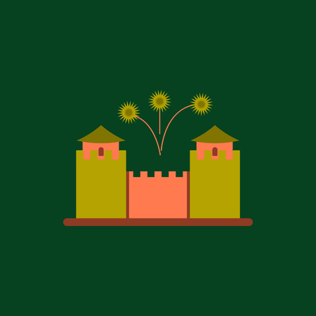 Great wall monument Vector illustration of Chinese new year celebration in flat style Great wall of China and fireworks