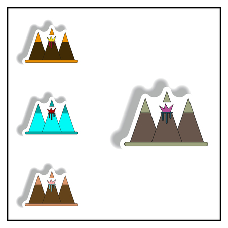 volcano mountain top exploding: Sticker collection Vector illustration of volcano explosion between the mountains in sticky style