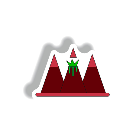 Sticker Vector illustration of volcano explosion between the mountains in sticky style