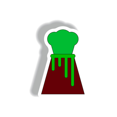 Vector illustration in sticker design of volcano explosion with magma