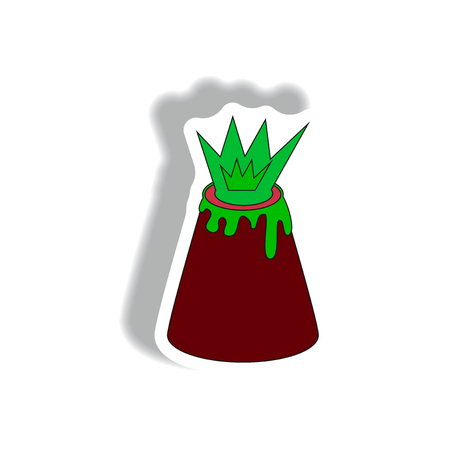 Vector illustration in flat paper sticker design of volcano explosion Illustration