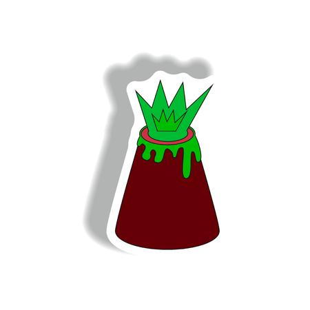 disaster: Vector illustration in flat paper sticker design of volcano explosion Illustration