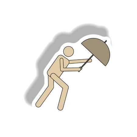 umbrella in storm, hurracian disaster Illustration