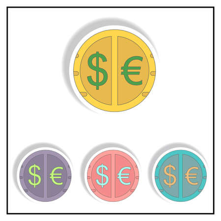 give: currency stock market sign Vector illustration collection in paper sticker style of currency exchange