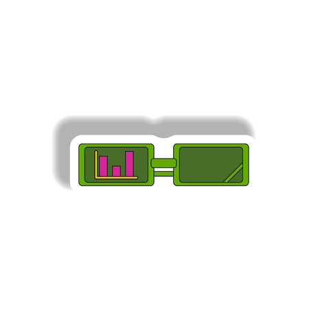 infochart: bar graph on glasses Vector illustration in paper sticker style of column chart and spectacles. strategic business vision Illustration