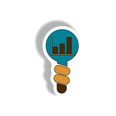 visualize: Idea for Improving Performance Vector illustration in paper sticker style of column chart in Light Bulb. bar graph in light bulb