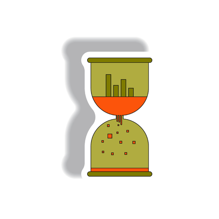 numbers background: Vector illustration in paper sticker style. infographic design of column chart and sand clock